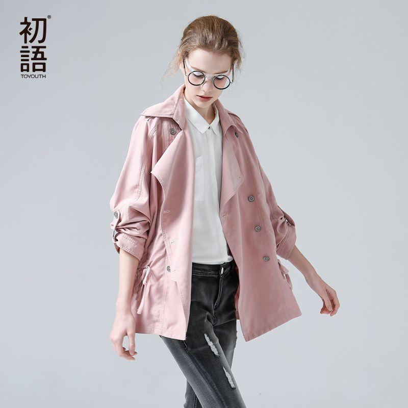 Toyouth British Style Pink Medium Trench Coat Women Overcoat Casual Outerwear <font><b>Autumn</b></font> Winter Female Coat Windbreaker designer Top