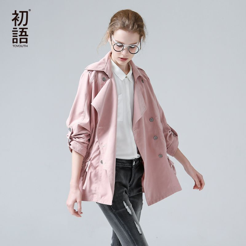 Toyouth British <font><b>Style</b></font> Pink Medium Trench Coat Women Overcoat Casual Outerwear Autumn Winter Female Coat Windbreaker designer Top