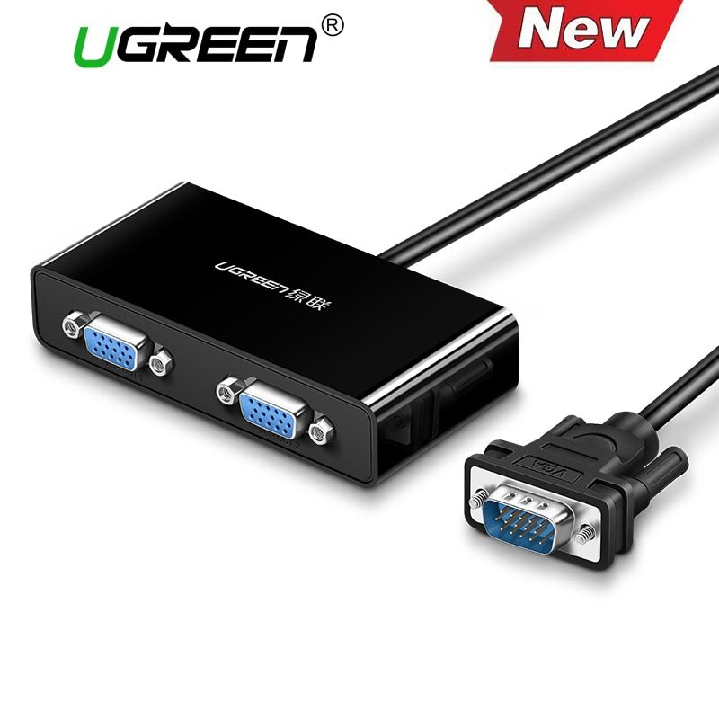 Ugreen 2 Ports VGA Switch Splitter 1920*1440 VGA Male to Two Female Splitter Cable for Laptop Projector HDTV VGA Splitter