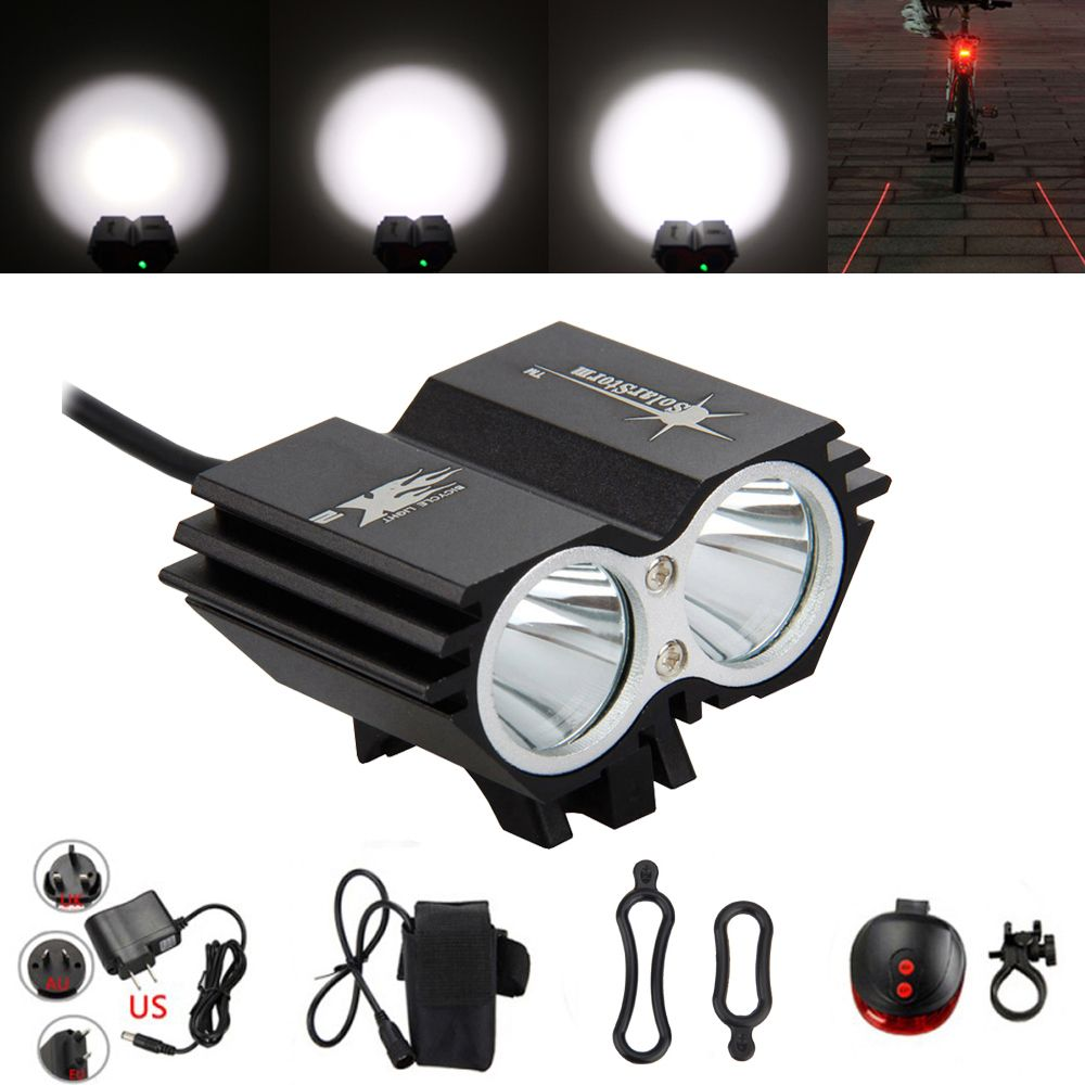 Waterproof 7000Lumens 2*XM-L U2 LED Light Headlight Head Front Lights +Back Safety Rear Light + 18650 Battery Pack + Charger