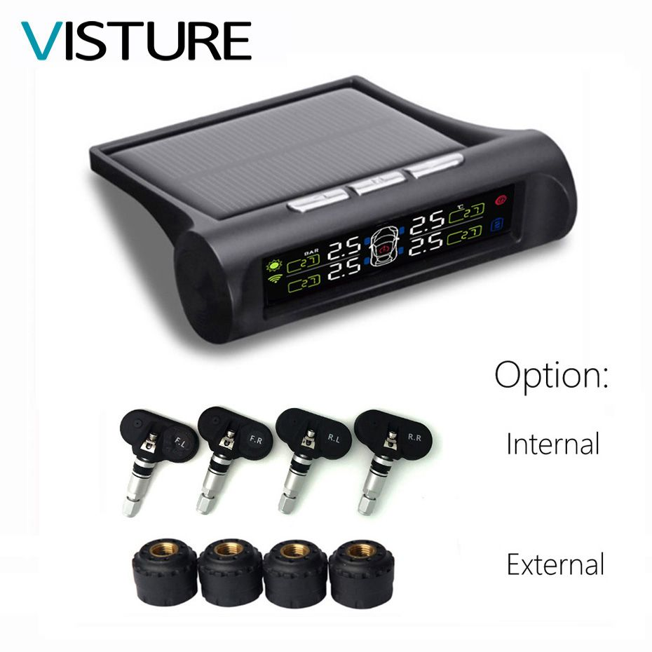 Visture Solar Power TPMS Car Tire Pressure Alarm Monitor System LCD Display 4 External Sensor Temperature Sensor T01W T06N