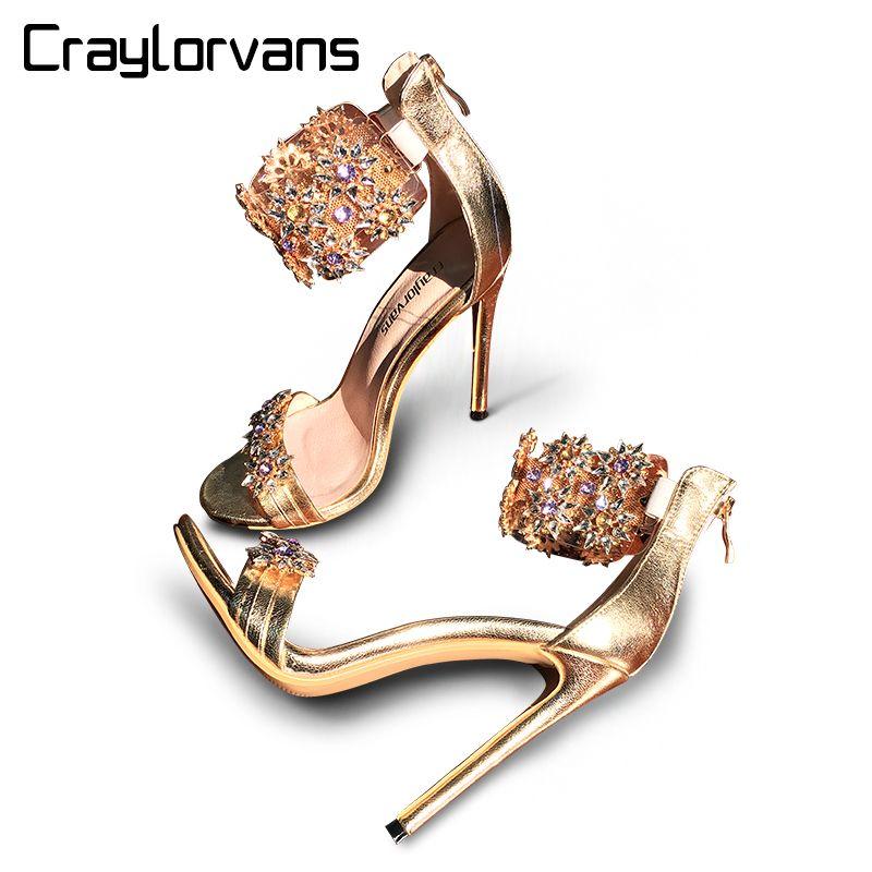 Craylorvans Top Quality Rhinestones Women Sandals 2018 Summer Crystal Women Sandals High Heels Thin Heels Weeding Women Shoes