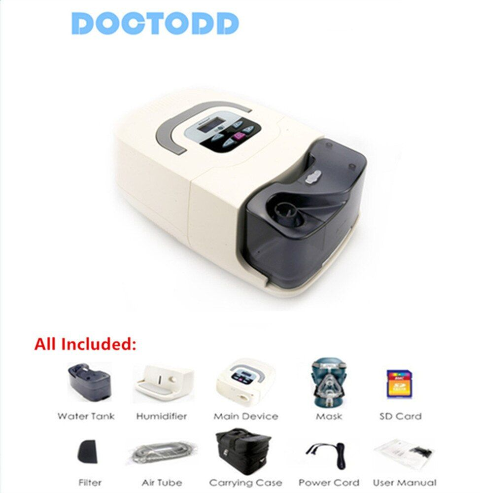 Doctodd GI CPAP Hause Medizinische Tragbare CPAP Maschine für Schlafapnoe OSAHS OSAS Schnarchen Menschen W/Maske Kopfbedeckungen Rohr tasche SD Karte