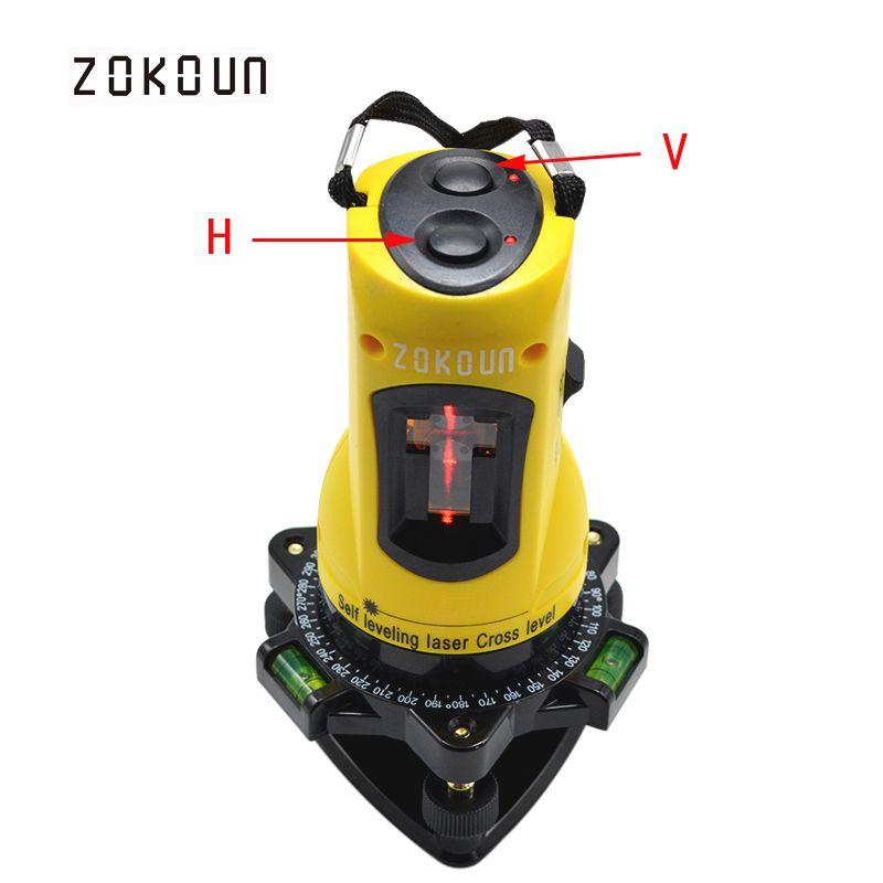 ZOKOUn M02H 360 degrés rotatif slash fonctionnelle auto-nivellement hight réglable DIY économique 2 (1 V, 1 H) croix lignes laser niveau