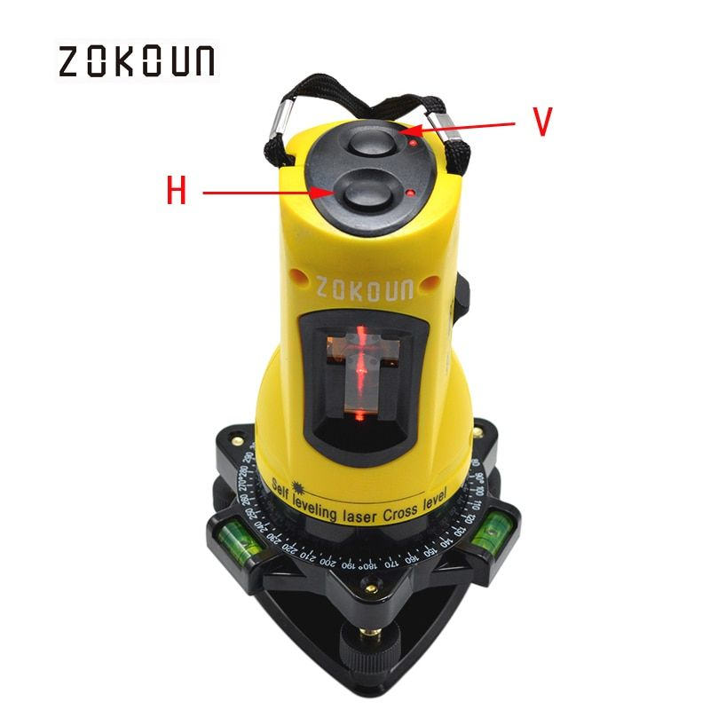 ZOKOUn M02H 360 degrés slash rotatif fonctionnel auto-nivelant haute réglable bricolage économique 2 (1 V, 1 H) lignes croisées niveau laser