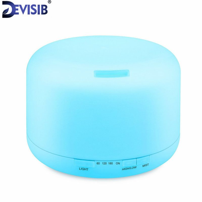 DEVISIB 500ML Essential Oil Diffuser Air Humidifier Aroma Lamp Aromatherapy Electric Ultrasonic Aroma Diffuser Mist 7 Colors LED
