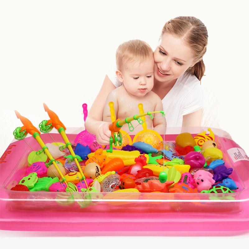40 pcs/lot Avec piscine Gonflable De Pêche Magnétique Jouet Tige Net Ensemble Pour Enfants Enfant Modèle Jouer Jeux De Pêche En Plein Air Jouets