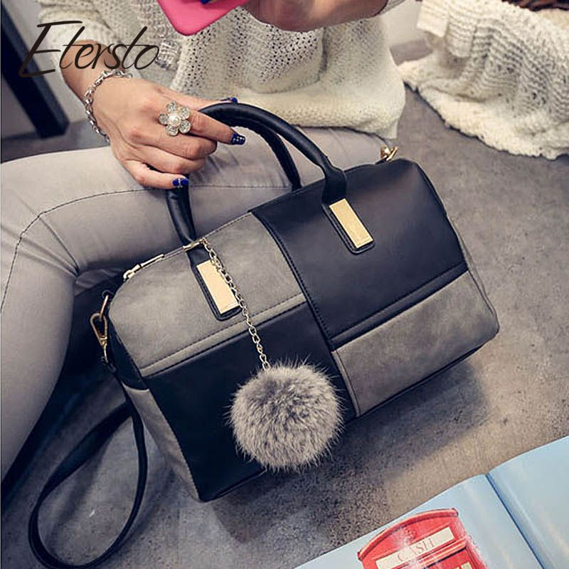 Etersto2018 new casual fashion stitching <font><b>hit</b></font> color handbags new fashion handbags Parker women's party wallets Ms. Messenger bag