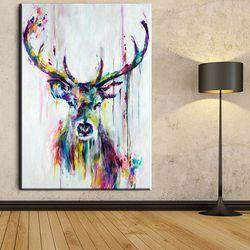 Xh181 Grand Triptyque Aquarelle Deer Head Affiches Imprimé Abstrait Animal Photo Toile Peinture No Cadres Salon Décor À La Maison