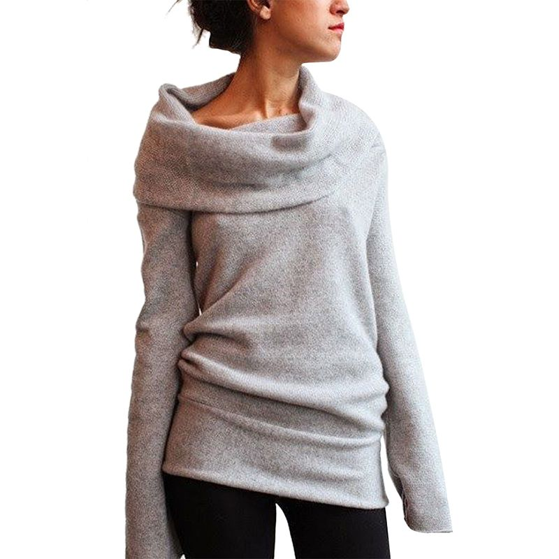 Hot New Women Autumn Winter Long Sleeve Casual Pullover Turtleneck Knitted Sweater Coat Sexy Jumper Tops Jersey Mujer F15