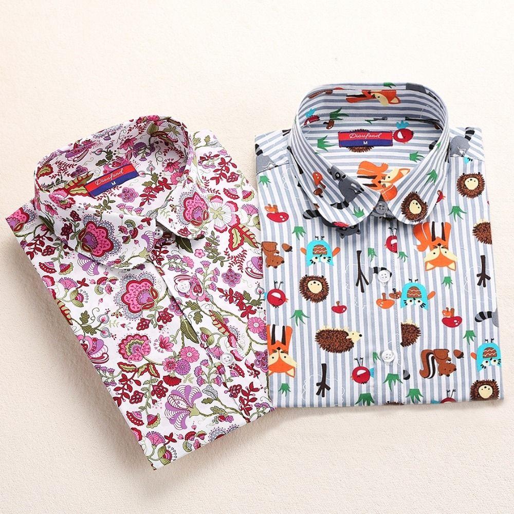 Dioufond Cotton Print Women Blouses Shirts Work Collar Office Ladies Tops Casual Cherry Long Sleeve Shirt Women Fashion Clothing