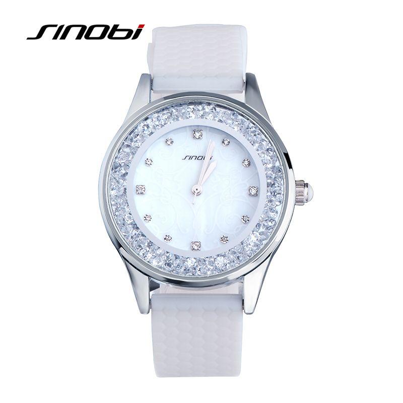 SINOBI Марка Для женщин силиконовые женские наручные Часы Карамельный Цвет Кварцевые часы для женщин Обувь для девочек партии алмазов Часы