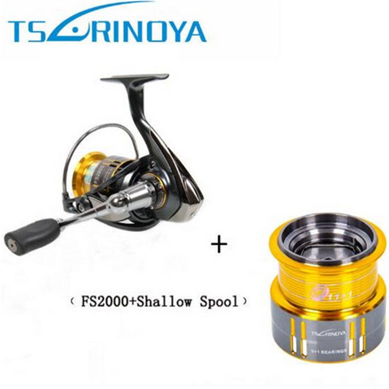 Tsurinoya FS2000 Spinning Fishing Reel 9+1BB/ 5.2:1/5kg Metal Spool Screw In Handle With Spare Spool Molinete Para Pesca