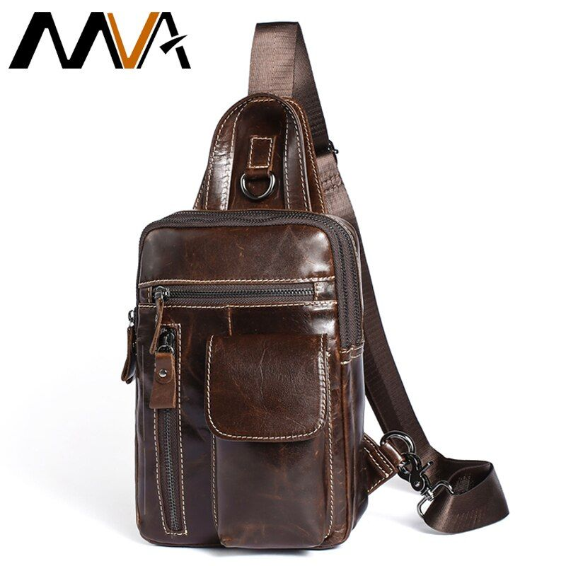 MVA Men's Genuine Leather Messenger Bag Men Shoulder Bags Male Chest Pack Crossbody Bags for Men Chest Bag Sling Leather 8871