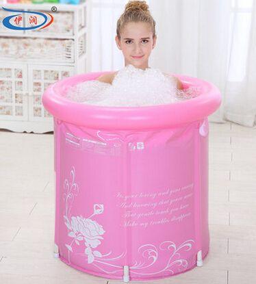 65x70 engrosamiento plegable bañera portátil spa adultos PVC bañera inflable cubo azul y rosa