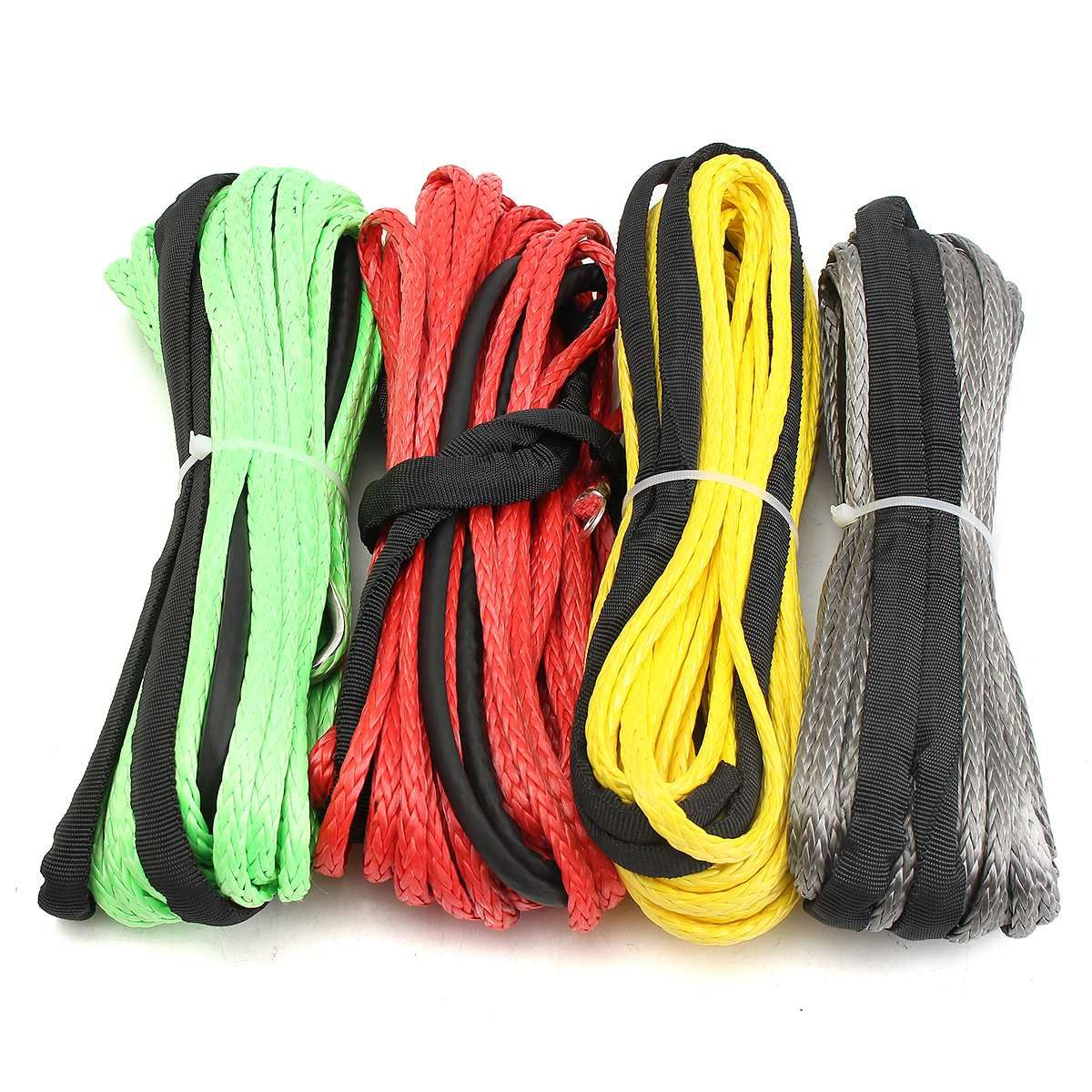 3/16'' x 50' Synthetic Fiber Winch Line Cable Rope 5500+ LBs + Sheath For ATV UTV 5.5mm*15m Synthetic
