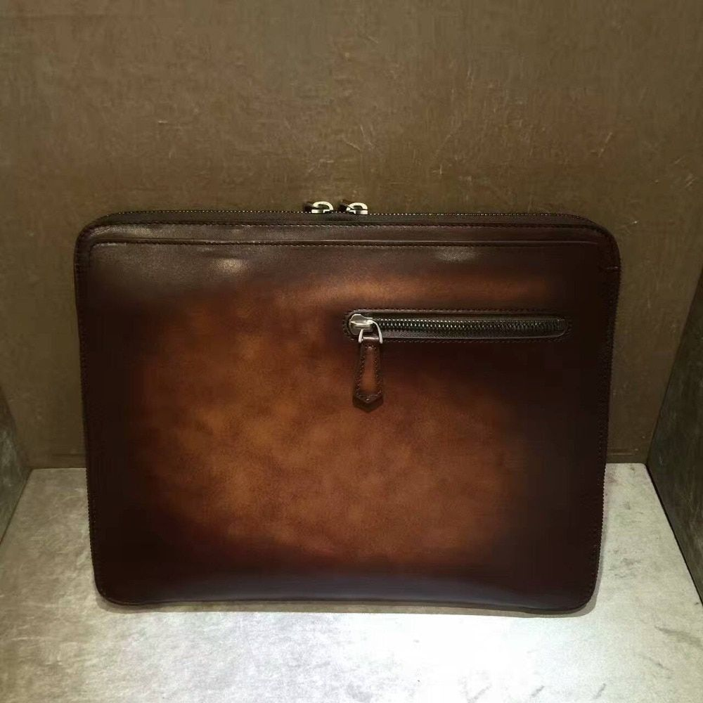 TERSE_Vintage portfolio leather handmade patian clutch bag top genuine leather man portfolio engraving service T86L0497