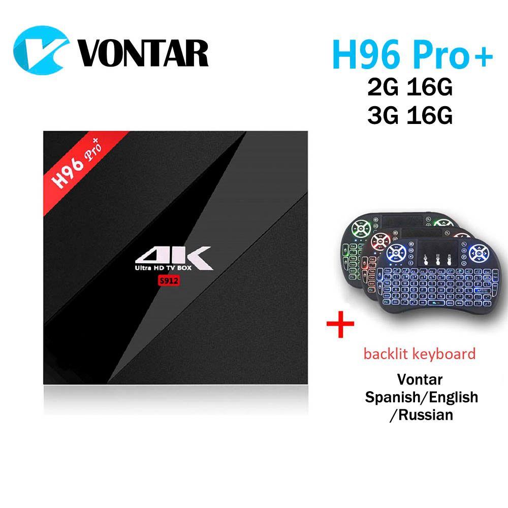 Vontar 2 г 16 г 3G 16 г h96 Pro + Amlogic S912 Octa core android 7.1 nougat ТВ коробка 2.4 г/5.8 Г Wi-Fi H.265 4 К media player h96 Pro Plus