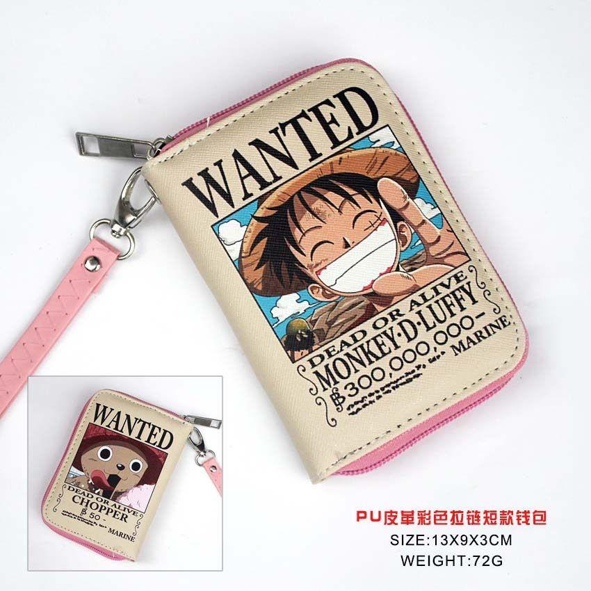 Anime PU Kurze Brieftasche/Einem Stück Geldbörse mit Zipper/Geldbörse/Null Brieftasche Gedruckt w-Luffy & Chopper