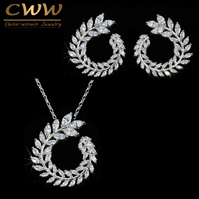 CWWZircons Fashion Women Costume Jewelry Sparkly Olive Branch Marquise Cut Cubic <font><b>Zirconia</b></font> Pendant Necklace And Earring Sets T087