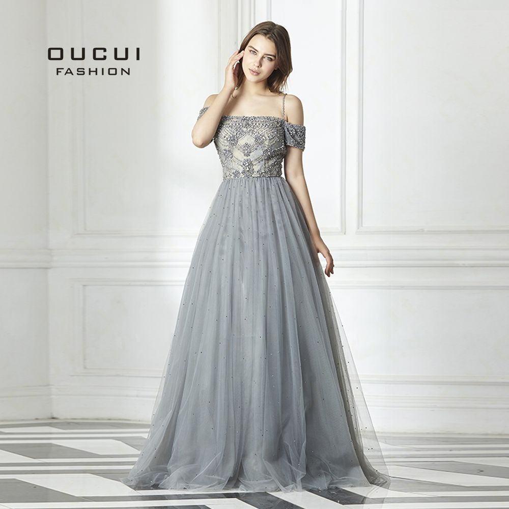 Real photos Backless Long Evening Dress Tulle Formal Handmade Crystal Ball Gown Boat Neck Spaghetti Strap Hot Drill OL103016