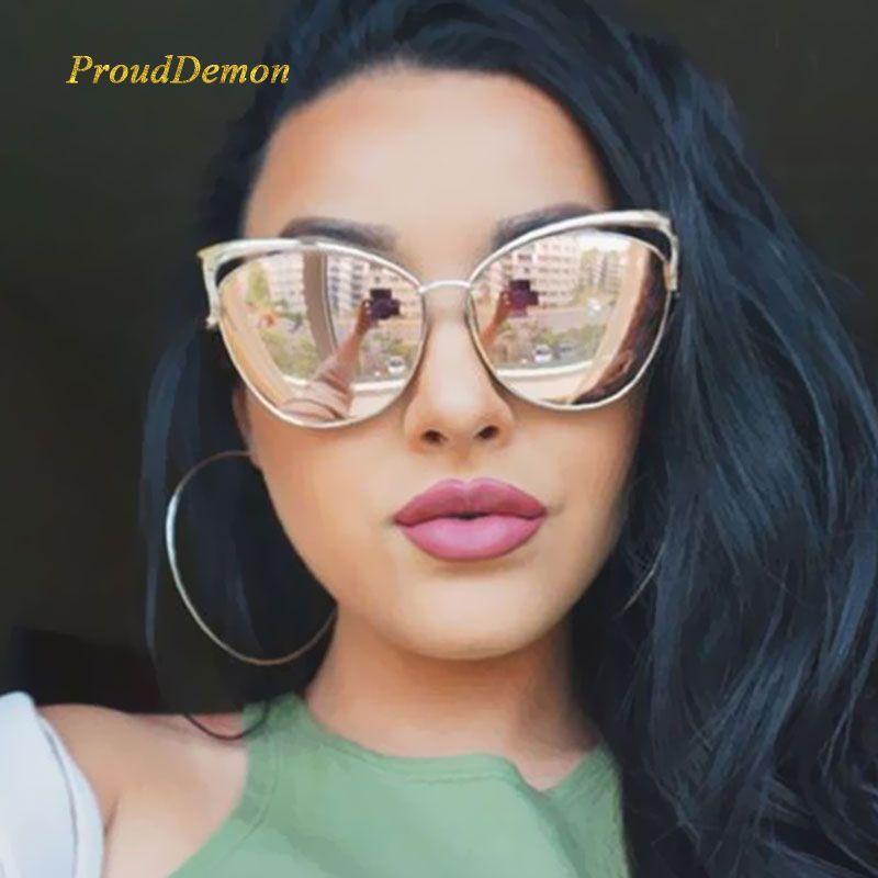 Nouveau mode œil de chat luxe 2019 lunettes de soleil femmes marque Designer double faisceau miroir hommes lunettes de soleil Vintage femme oculos de sol