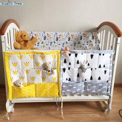 Muselina árbol cama colgante bolsa de almacenamiento cuna cama bebé marca algodón cuna organizador 60*50 cm juguete pañal bolsillo para cuna ropa de cama conjunto