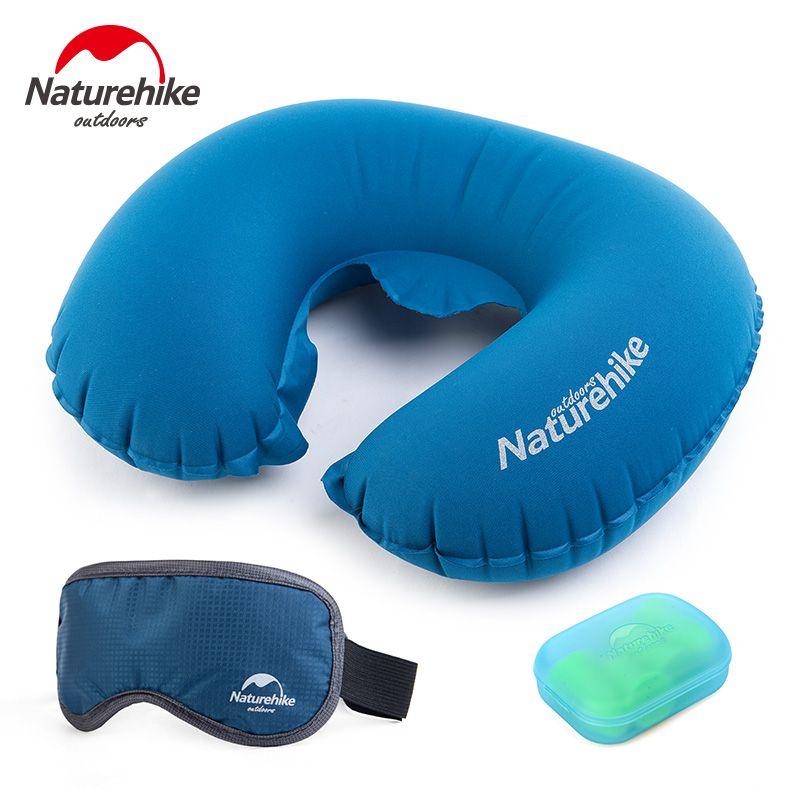 Naturehike Pillpw Tragbare Falten Luft Aufblasbare Reise Kits Kissen + Eye Augenbinden + Ohrstöpsel 3 STÜCKE In Einem Set Reise notwendigkeit