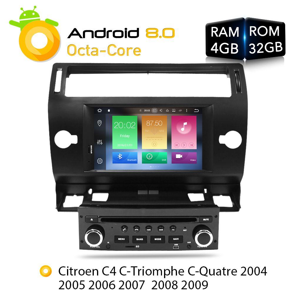Android 8.0 Car DVD Player GPS Glonass Navi for Citroen C4 C-Triomphe C-Quatre 2005 2006 2007 2008 2009 Radio Audio Stereo