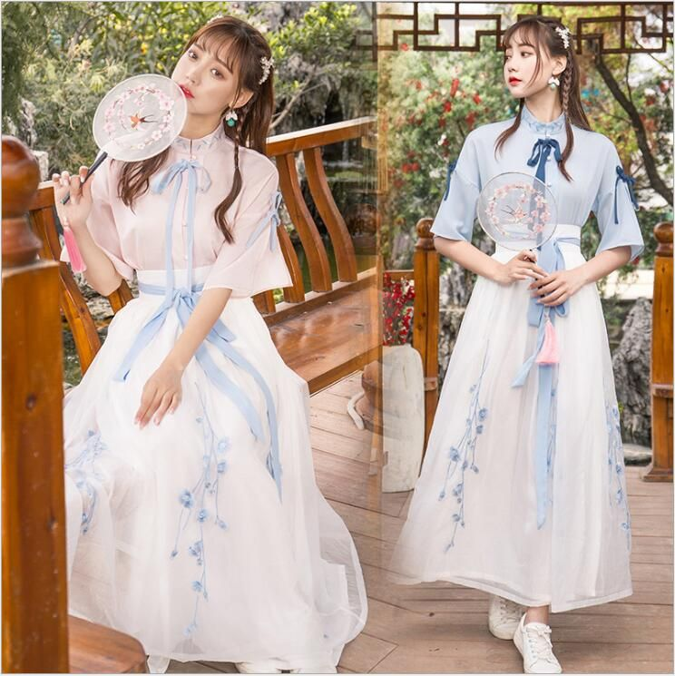 China Ancient Costume Elegant Hanfu Folk Dance Fairy Dress for Women Stage Dance Costume Princess Tang Song Ming Dynasty Hanfu