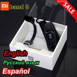 Asli Xiao Mi Mi Band 2/Mi Band 3 dengan Layar OLED Touchpad Smart Denyut Jantung Kebugaran Bluetooth Gelang gelang