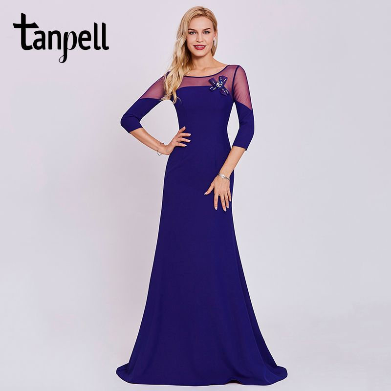 Tanpell bateau neck sweep train evening dress blue 3/4 sleeves floor length a line gown women long prom formal evening dresses