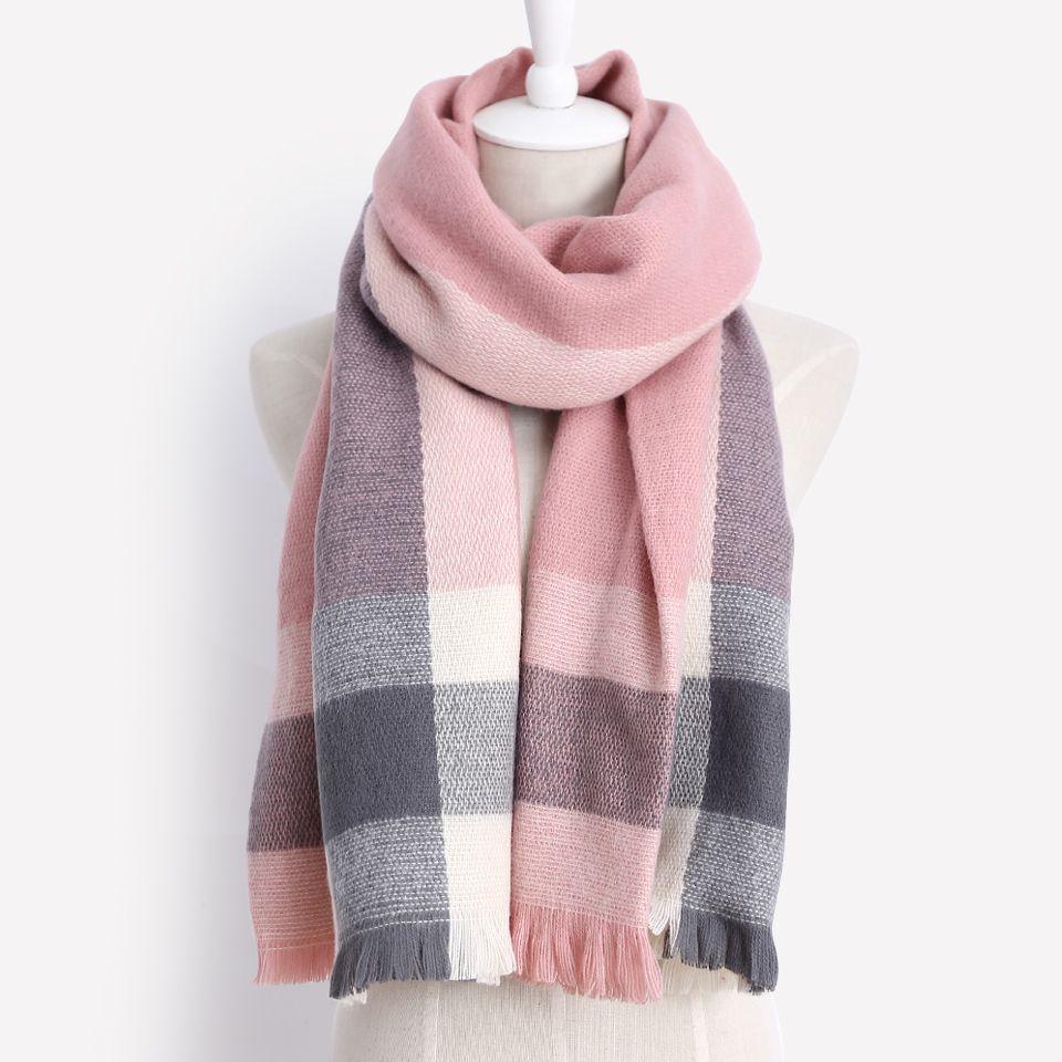 2017 Новый мода зима теплый шарф 100% акрил большие прямоугольные Одеяла шаль, кисточкой шарф для женщин