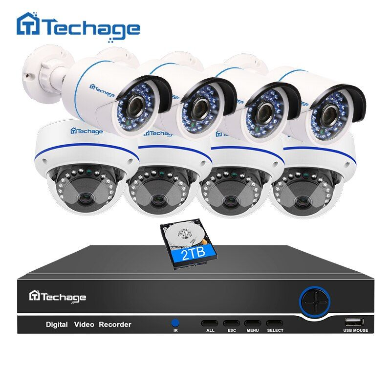 Techage 8CH 1080P 48V POE NVR CCTV System Vandalproof Anti-vandal Dome Indoor Bullet Outdoor IP Camera Security Surveillance Kit