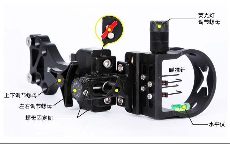Free shipping 4 Pin Compound bow optic bow sight .019 Micro Adjust for hunting and archery