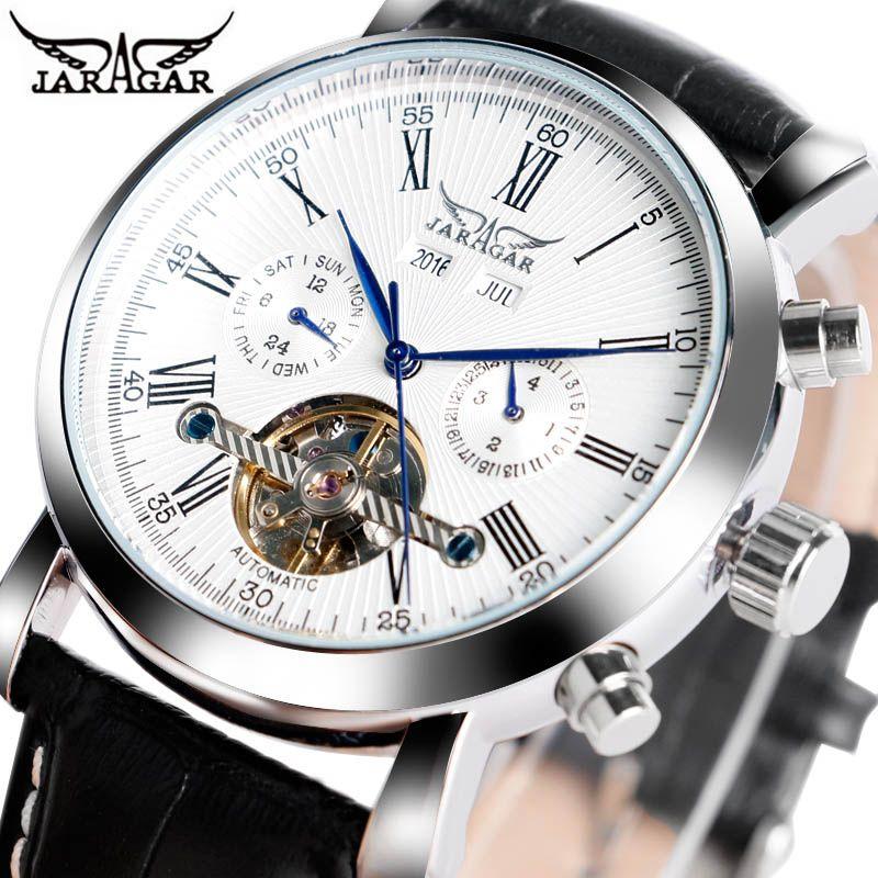 JARAGAR Luxury Brand Fashion Self-wind Mechanical Watches Mens Day Date Business Sport Wrist Watch 2019 New Leather Band Clock