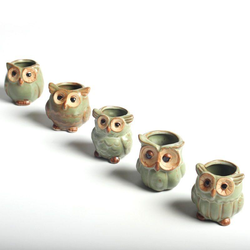 5pcs/lot Creative Ceramic Owl Shape Flower Pots for Fleshy Succulent <font><b>Plant</b></font> Animal Style Planter Home Garden Office Decoration
