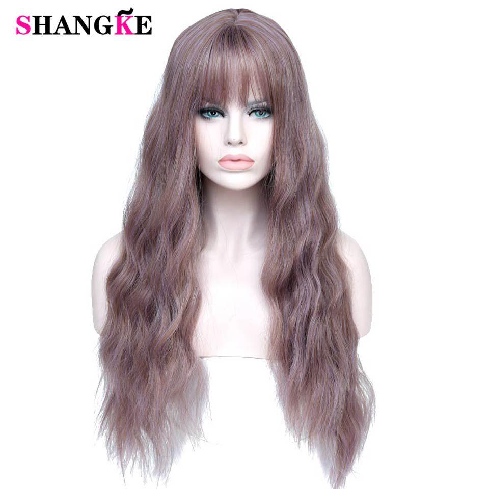 SHANGKE 26 Long mélange violet femmes perruques avec frange résistant à la chaleur synthétique crépus bouclés perruques pour les femmes afro-américaines