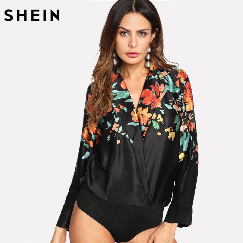 SHEIN Bodysuit Women Multicolor V Neck Long Sleeve Bodysuits Spring Fall Women Clothes 2018 Floral Wrap Blouse Bodysuit