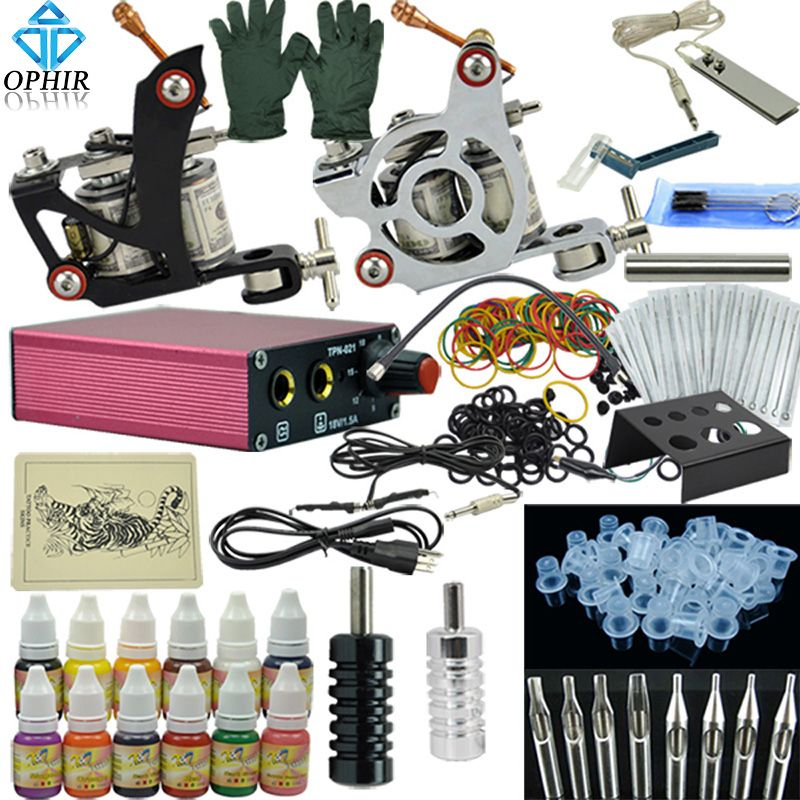 OPHIR Complète De Tatouage Kit 1x Liner Tattoo Machine & 1x Doublure Shader Pistolet de Tatouage 12 Encres de Couleur 50 pcs Aiguilles Corps De Tatouage Art_TA003