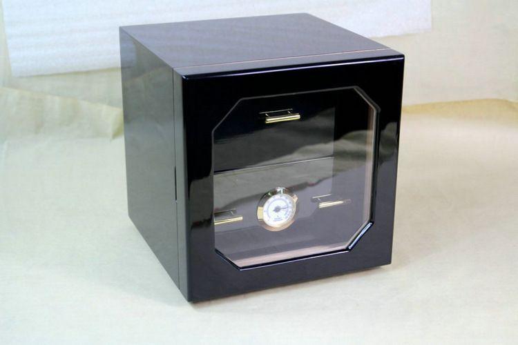 Mini Three-layers Cigar Cabinet Display Case Pine Cigar Humidor Piano Paint Cigar Moisturizing Box Brass Ring Glass Hygrometer