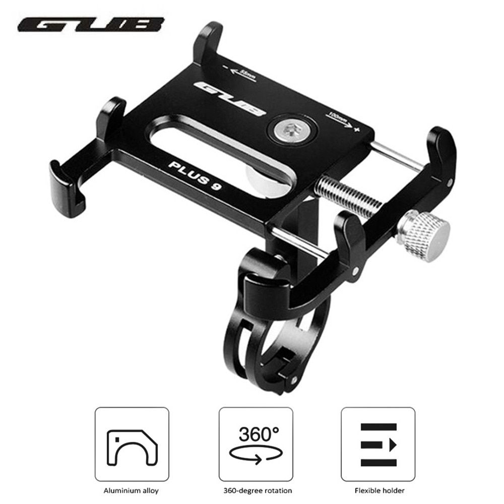 GUB PLUS 9 Aluminum Alloy Universal 360 Degree Rotatable Cell Phone Holder Bicycle Mount Handlebar for for 3.5-6.2in Phones