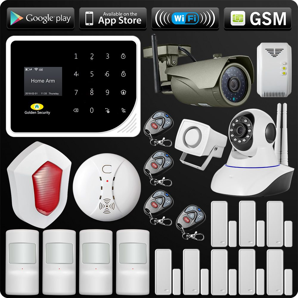 WIFI GSM Alarm System Security APP ISO Android Control Alarm Outdoor Wifi IP Camera Flash Siren Smoke Sensor Gas Sensor