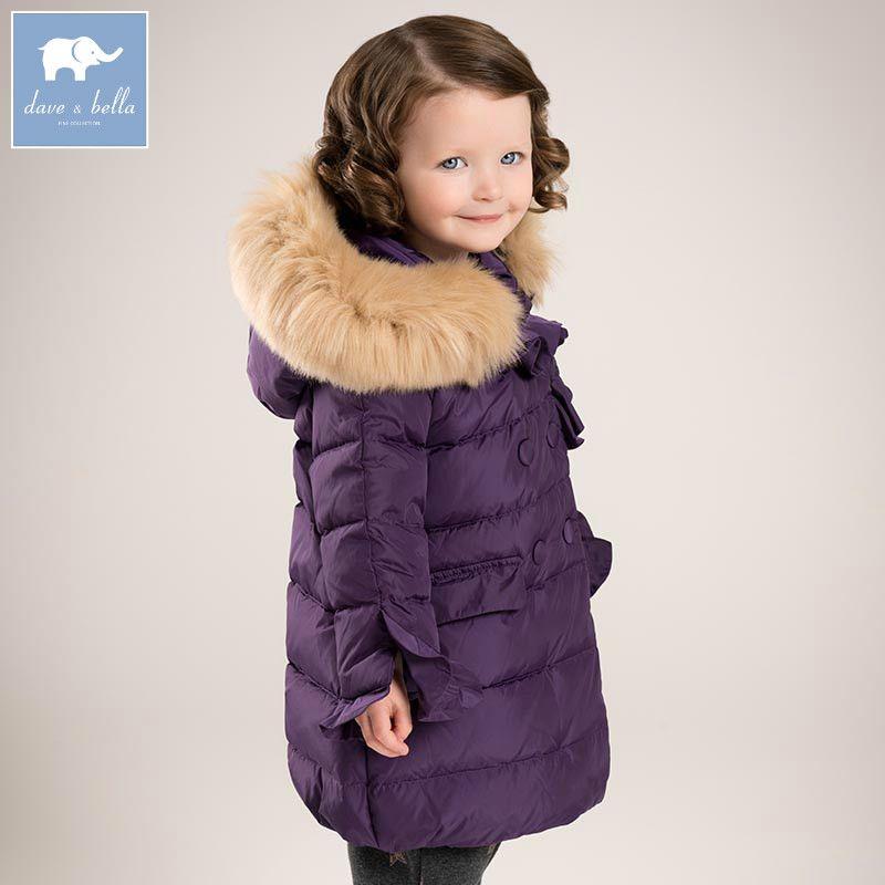 Db5918 Дэйв Белла зимние для маленьких девочек пуховая куртка детская белая утка вниз обивка пальто Дети Верхняя одежда с капюшоном