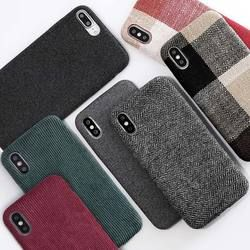 SoCouple Cloth Texture Soft case For iphone XR X Xs max Case For iphone 7 8 6 6s plus Ultra Thin Canvas Grid Pattern Phone cases