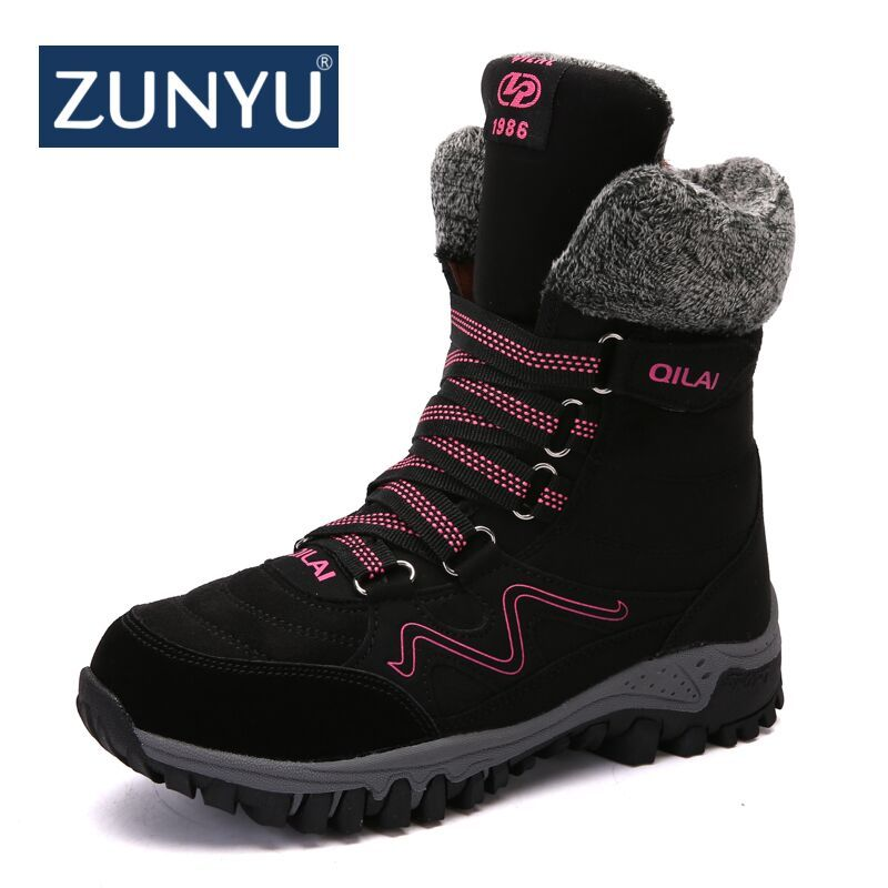 ZUNYU New Arrival Fashion Suede Leather Women Snow Boots Winter Warm Plush Women's boots Waterproof Ankle Boots Flat shoes 35-42
