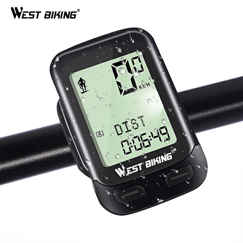 WEST BIKING Bike Computer 5 Language MTB Road Bicycle Wireless <font><b>Speedometer</b></font> 2 Bikes Select Upgraded Cycling Backlight Stopwatch