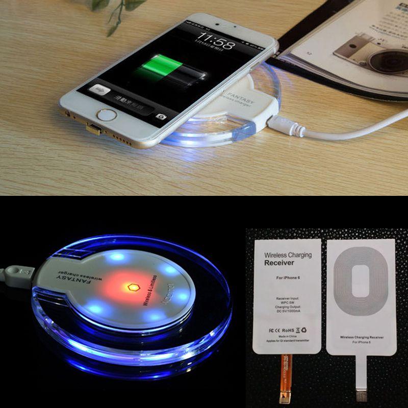 QI беспроводной зарядки передатчик + приемник для Apple IPhone 5 5S SE 6 6 S 6 плюс 6 S плюс беспроводное зарядное устройство Комплект для iPhone 7 Plus