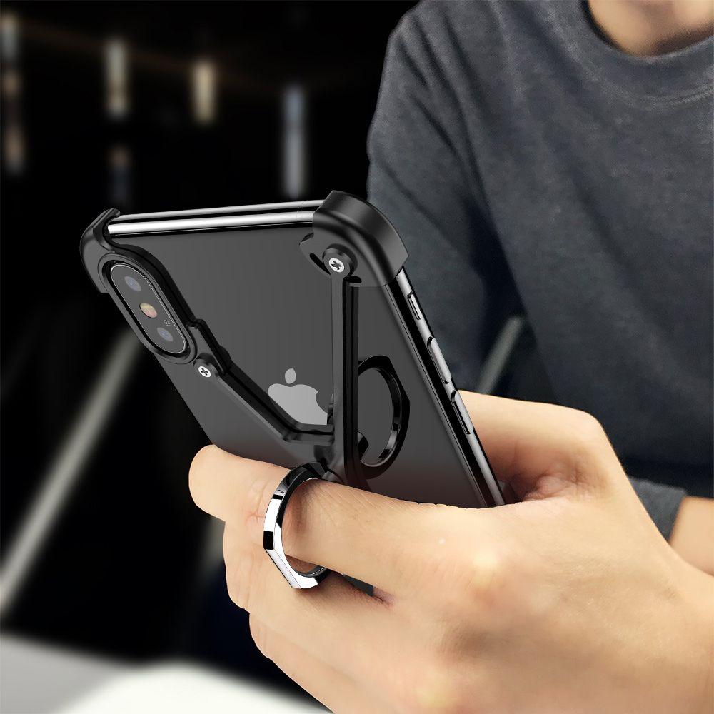X Forme Bague caisse De Support Pour l'iphone X Personnalité Shell pour iPhone X Cas En Métal Pare-chocs Pour iPhoneX Avec Cadeau Verre Film