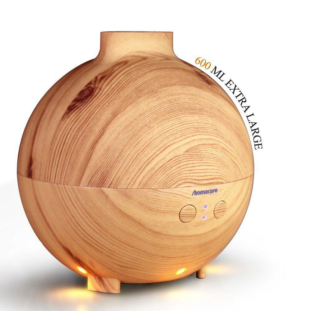 Aromacare 600 ml Aroma Huile Essentielle Diffuseur À Ultrasons Humidificateur D'air avec Wood Grain LED Lumières pour Home Office
